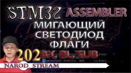 STM Assembler. Мигающий светодиод. Команды BX, BL, SUB. Флаги. Условия